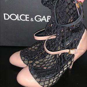 Dolce & Gabbana Fishnet Mary Jane Pumps